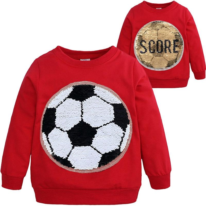 2019 Lente Herfst Jongen Sequin Patroon Sweatshirts Kinderen Lange Mouwen Sport Tops Voor Jongens Meisjes Trui T-shirt Kids Kleding