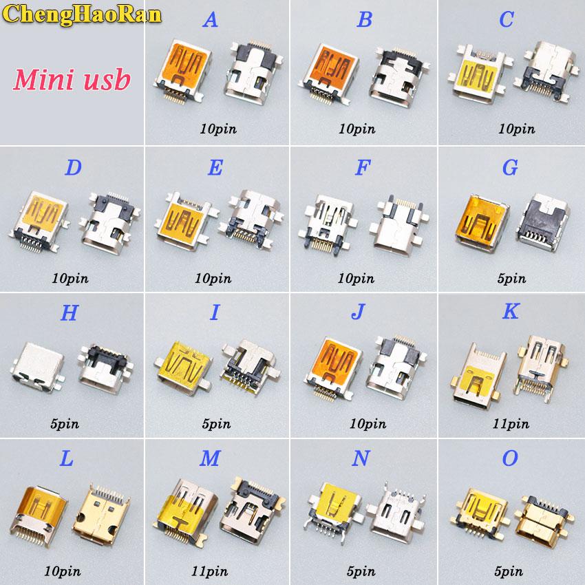 ChengHaoRan 1pcs 5pin 10pin 11PIN Mini USB Jack Type B Female SMT SMD Socket Connector Charging Port MP3 MP4