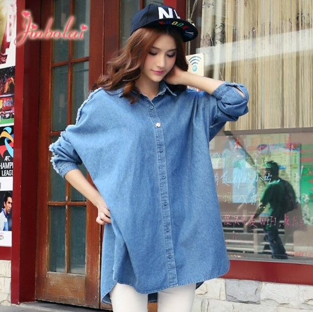 Oversized blue jean shirt women denim shirt long sleeves for Blue denim shirt for womens