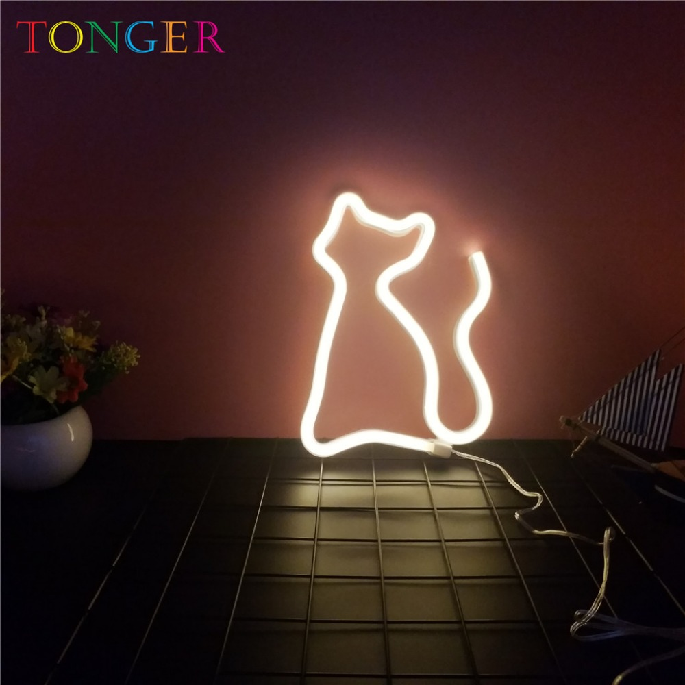 TONGER Cute cat Shape LED Neon Light Home Children Bedroom Wall Decoration Light Wedding Light Accessories Beautiful Party Night