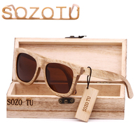 2016 Unisex Luxury Custom Wood Sunglasses Square Men Vogue Bamboo Wood Eyewear Polarized Mirror Lenses Men