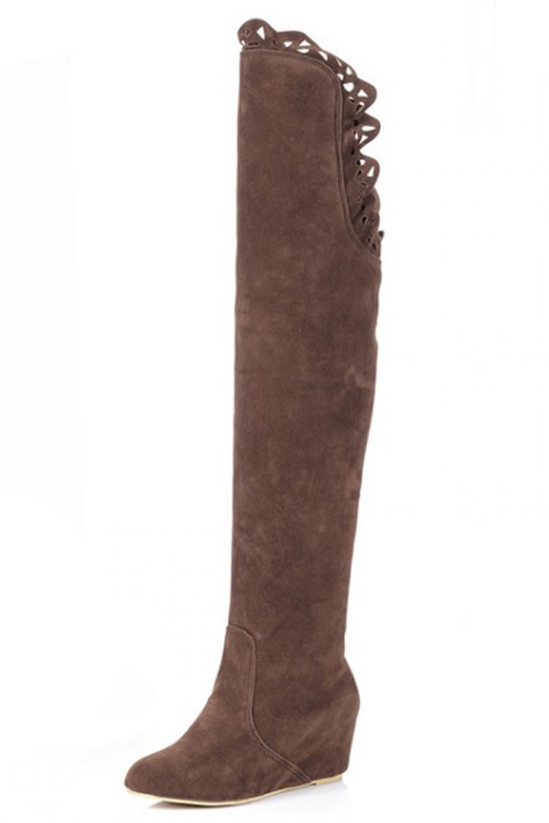 Women Lace Thigh Over Knee Stretchy Shoes Boots High Heel Brown 35-39