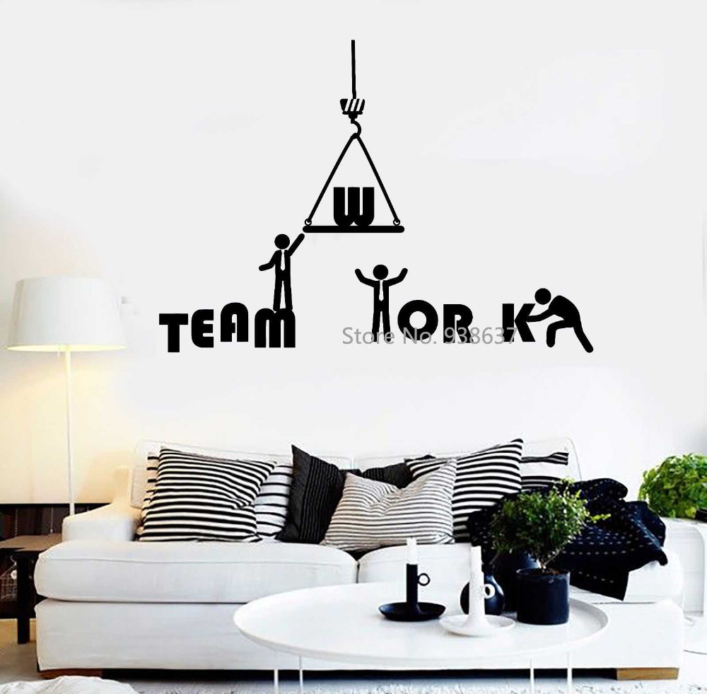 Office Inspiration Wall Decals Teamwork Quote Vinyl Wall Stickers Home Decor Removable Art Decal Mural Waterproof Sticker ZB469