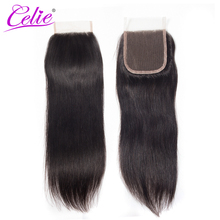 Celie Hair Brazilian Straight Hair Lace Closure Free/Middle/Three Part Remy Human Hair 4x4 inch Swiss Lace Top Closure(China)