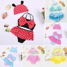 Girls Lovely Princess Polka Dot Flower Skirt Split Swimsuit Set