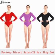 Women Black Red White Blue Leotard Long Sleeves Ballet Dancewear Lycra Spandex Leotards Bodysuit Gymnastics Costume Unitard