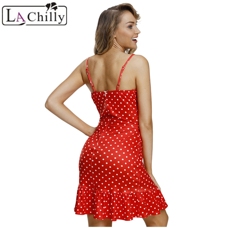 db5786129d3e La Chilly Sundress 2018 Summer Womens Dresses Red White Polka Dot Print Cut  Out Frill Hem Shoulder Strap Mini Dress LC220352-in Dresses from Women's ...
