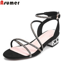 ASUMER 2019 summer sandals for women casual med heels shoes buckle suede leather shoes women elegant ladies prom shoes(China)