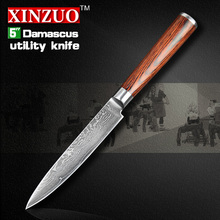 2016 XINZUO NEW 5″ Utility knife Japanese VG10 Damascus kitchen knife paring knife kitchen tool color wood handle FREE SHIPPING