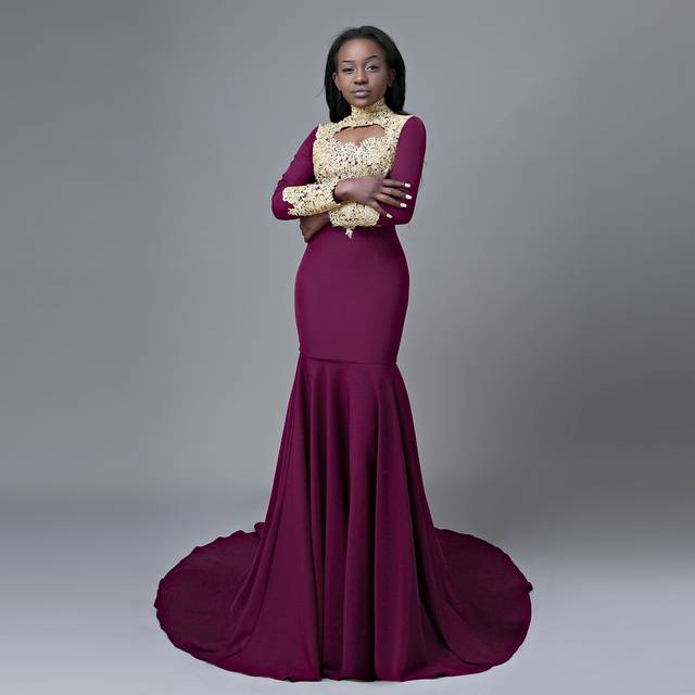 Online Shop Long Prom Dresses 2018 Elegant High Neck Long Sleeves Gold Lace  African Purple Mermaid Prom Dress  4b6879019523