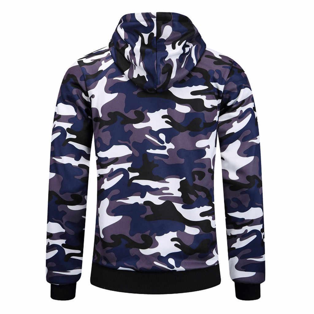 Camsgend мужской модный Камуфляжный свитер с длинными рукавами и капюшоном Тонкий Повседневный свитер на молнии Спортивная тренировочная рубашка для бега