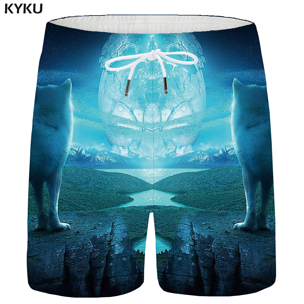 Men's Clothing Search For Flights Kyku Wolf Shorts Men Moon Cargo Short Pants Animal Forest 3d Printed Shorts Casual Blue Hip Hop Mens Shorts Summer High Quality