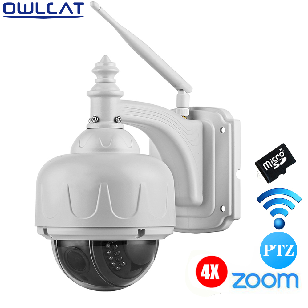OwlCat HD 720P Wireless Outdoor CCTV Speed Dome WIFI Security PTZ IP Camera 4X Auto Focus Zoom Lens TF Card Motion detection security cctv 1080p audio wireless wifi ip camera 20x zoom auto tracking ptz ip camera ir wireless outdoor cpe ap