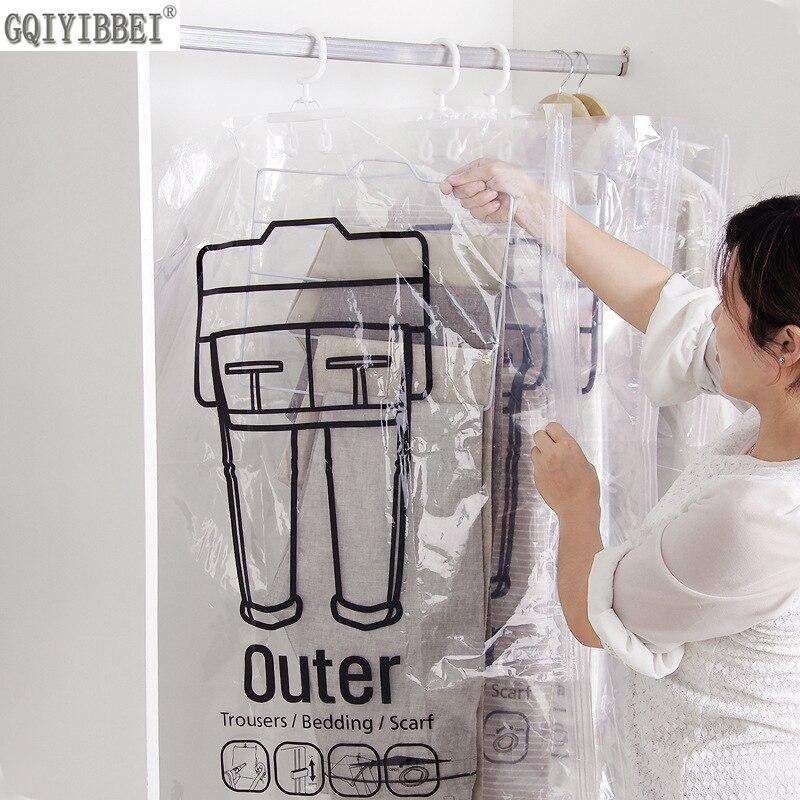 Tipo di attaccatura Trasparente Sacchetto di Immagazzinaggio di Vuoto Per I Vestiti Pantaloni Risparmiare Spazio Dell'organizzatore Antipolvere Umidità Coperchio di Protezione