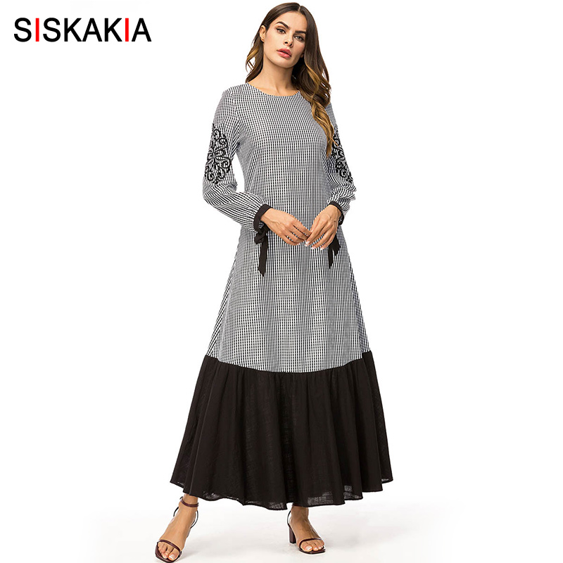 Siskakia Fashion Plaid Contrast Color Patchwork Women Long Dress Vintage Ethnic Embroidered Maxi Dresses Long Sleeve Spring 2019