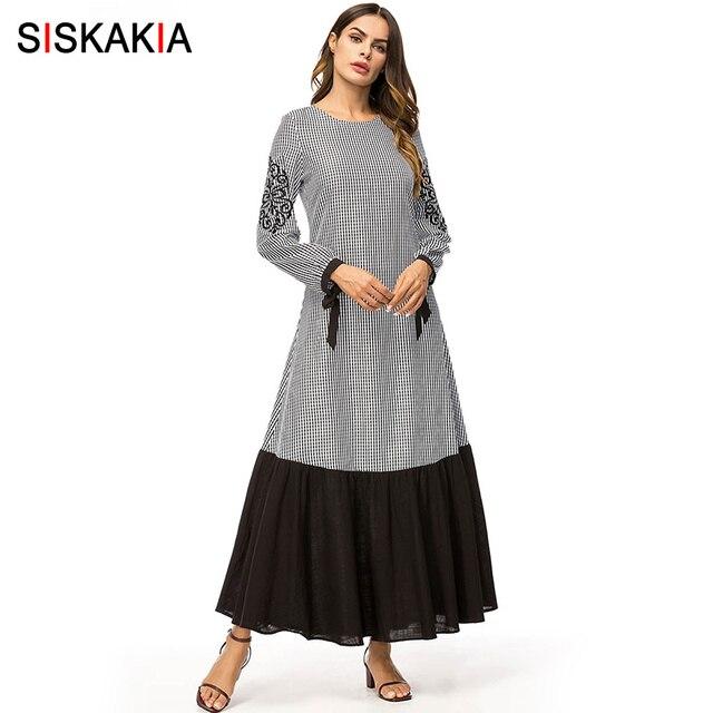 Siskakia אופנה משובץ ניגוד צבע טלאים נשים ארוך שמלת וינטג אתני רקום מקסי שמלות ארוך שרוול אביב 2019