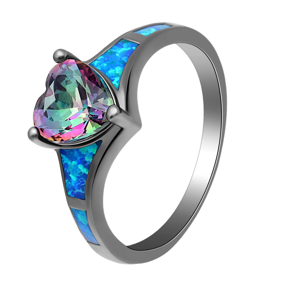 New Fashion Love Heart Blue Fire Opal Rings For Women Pink Red Blue Cz Crystal Silver Color Wedding Engagement Rings