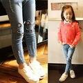 2016 atacado crianças meninas 3D gato impresso calças jeans apertadas calças scratch calças crianças roupas das meninas jeans 2-7Y