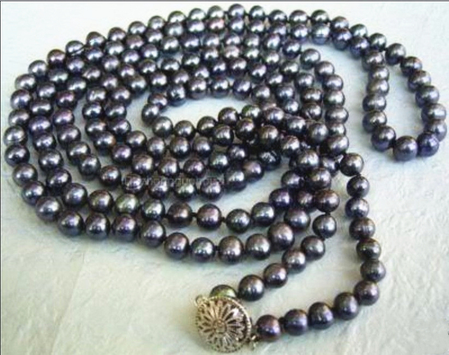 "Fashion 7-8mm natural freshwater cultured black pearl round beads necklace for women high grade weddings party gifts 55"" MY4504"