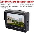 """Frete grátis! Pulseira 4.3 """"AT430TAC-5M TVI3.0 + AHD2.0 + CVI2.0 + CVBS Câmera de CCTV Monitor de Testador"""