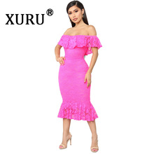 XURU Summer New Fashion Womens Lace Embroidered Dress Cutout Sexy Nightclub Pink Wine Red Black