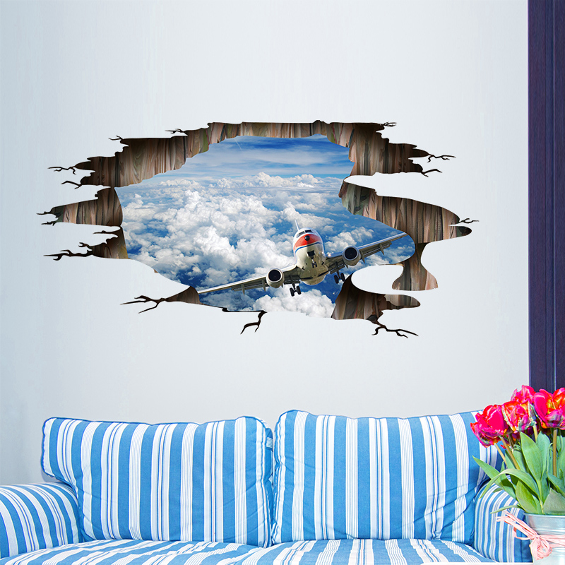 Shijuehezi sky clouds airplane wall decals vinyl for Aviation wall mural