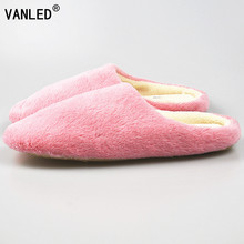 VANLED 3 Colors New Fashion Soft Sole Autumn Winter Warm Home Cotton Plush Slippers Women Indoor Floor Flat Shoes Girls Gift