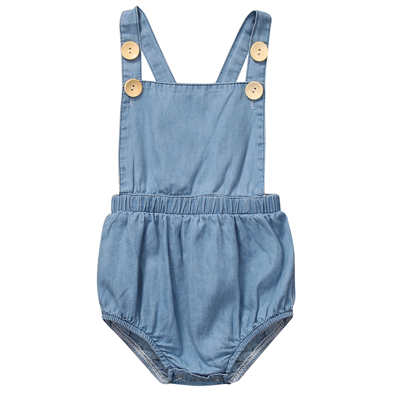 2017 Newborn Baby Girl Denim Romper Cute Infant Bebes Sleeveless Halter Jumpsuit Outfits One Pieces Sunsuit Children Rompers summer newborn infant baby girl romper short sleeve floral romper jumpsuit outfits sunsuit clothes