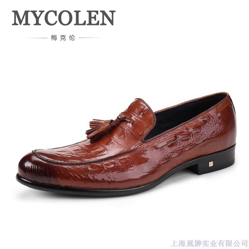 MYCOLEN Spring Male Dress Shoes Fashion Designer Genuine Leather Shoes Men Business Breathable Cow Leather Men Casual Shoes ege brand handmade genuine leather spring shoes lace up breathable men casual shoes new fashion designer red flat male shoes