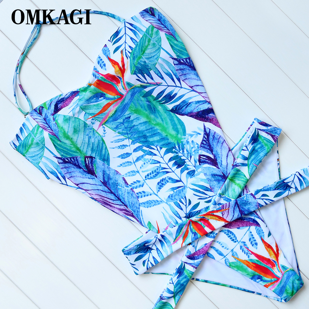 OMKAGI Plus Sizes One Piece Swimsuit Swimwear Women Push Up Bodysuit Swimming Bathing Suit Beachwear Monokini 2017 New Design