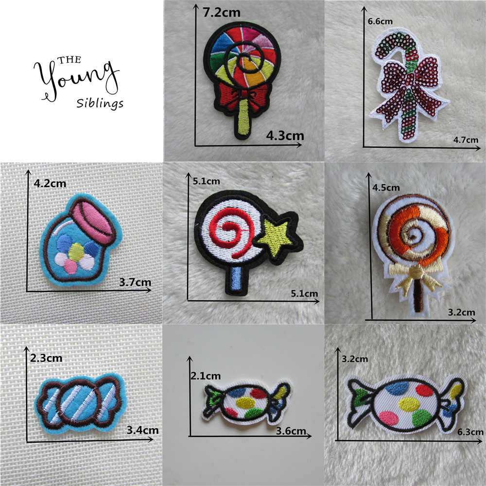 Sweets iron on patches food thermo-stickers DIY Sewing Applique Badge Decorate Jacket bag hat embroidery Stripes for clothes