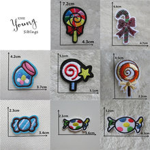 Sweets iron on patches food thermo-stickers DIY Sewing Applique Badge Decorate Jacket bag hat embroidery Stripes for clothes(China)