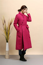 Chinese style retro Women's cotton-padded jacket pure linen slim long trench coat jacket female slim ladies jackets and coats