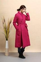 Chinese style retro font b Women s b font cotton padded jacket pure linen slim long