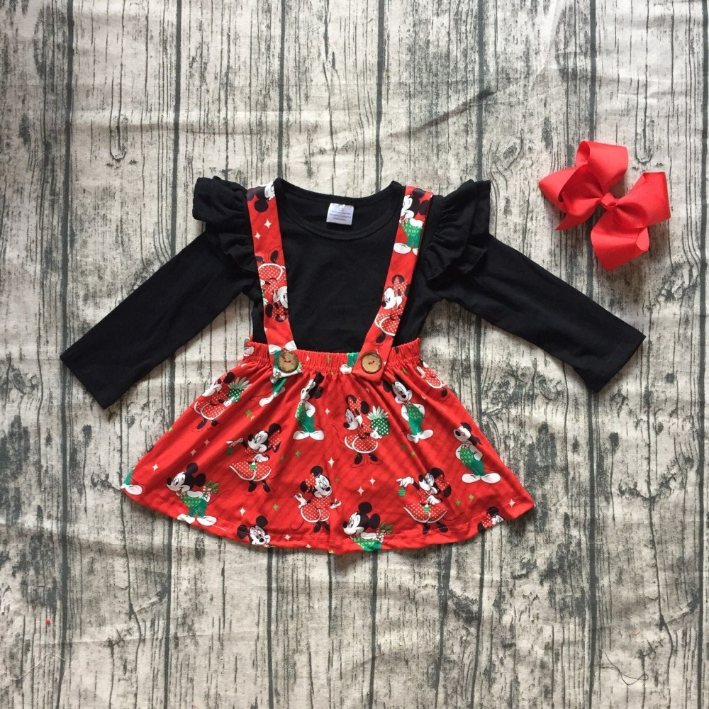 все цены на Christmas fall/winter baby girls clothes cotton red black mouse halter top Button Straps dress boutique long sleeve match bow
