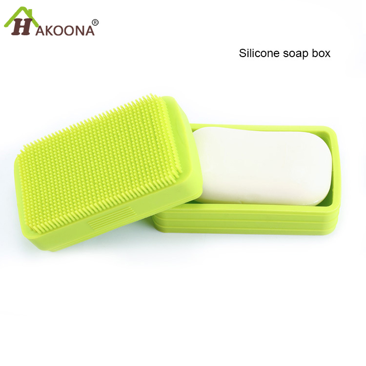 HAKOONA  Silicone Lid With Soap Box Creative Silicone Soap Dishes With Bath Brush For Shower BathroomHAKOONA  Silicone Lid With Soap Box Creative Silicone Soap Dishes With Bath Brush For Shower Bathroom
