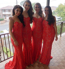 Vestidos De Feats Elegant Red Mermaid Bridesmaid Dresses Cheap Sweetheart Sleeveless Long Lace Maid Of Honor Dress Formal Dress