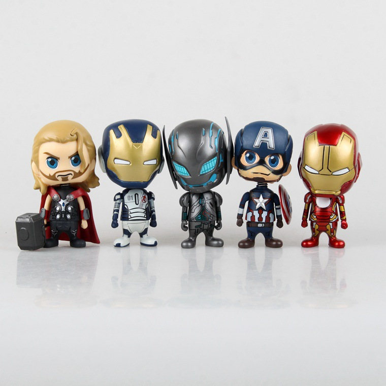 Free Shipping Cute 5pcs The Avengers Solid Set Bobble Head Shaking Head Toy Model Car Decoration 9cm Boxed PVC Action Figure Toy free shipping cute 4 star wars stormtrooper darth vader bobble head shaking head toy model car decoration boxed pvc figure