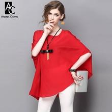 spring summer runway designer womans shirt blouse dark blue red silk blouse cloak black bow tassel necklace plus size blouse