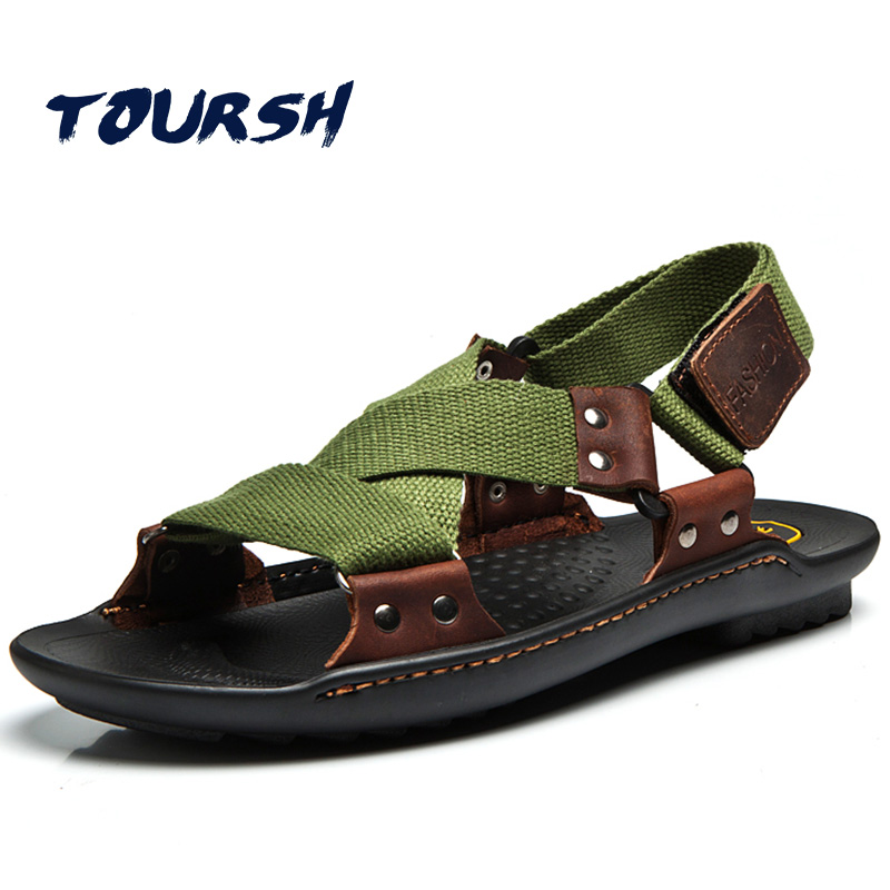 TOURSH Genuine Leather Sandals Men Summer Beach Shoes Sandals Designers Men Sandals Slippers For Men Zapatos Sandalias Hombre