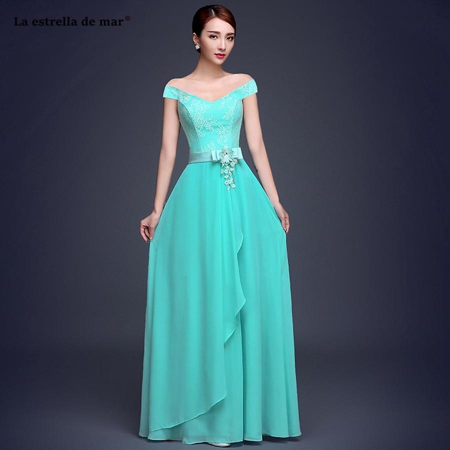 La Estrella De Mar Vestiti Donna Eleganti Per Cerimonie2019 New Lace Chiffon A Line 6 Style Turquoise Bridesmaid Dress Long Chea