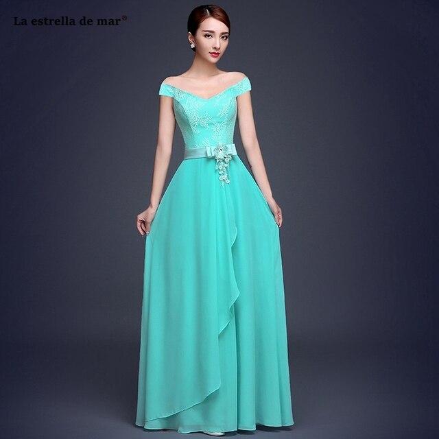La estrella de mar vestiti donna eleganti per cerimonie2019 new lace chiffon  A Line 6 style turquoise bridesmaid dress long chea 65313b740da9