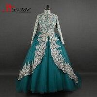 2017 Amazing Long Elegant High Neck Vintage Arabic Muslim Gold Lace Formal Ball Gown Elegant Evening Prom Dresses LIYATT