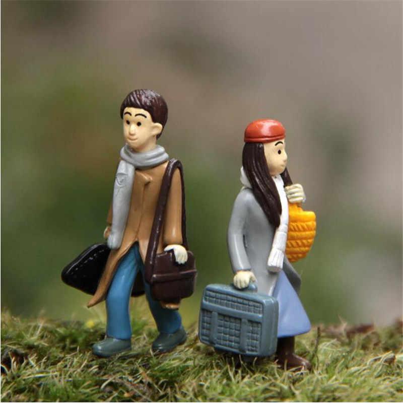 2PCS Mini Couples Dolls Fairy Garden Miniatures DIY Micro Landscape Decor Dollhouse Action Figures Figurine vintage home decor