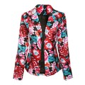 Casual Womens Floral Long Sleeve Jacket Coat Slim Suit Outwear
