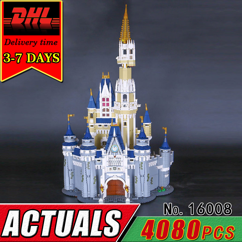 DHL LEPIN 16008 Cinderella Princess Castle Model Building Bolck City Set Compatible Brick Kit Classic Toy For Girl Children Gift lepin 16008 creator cinderella princess castle city 4080pcs model building block kid toy gift compatible 71040