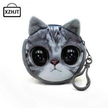 11 Style Mini 3D Cat Plush Coin Purse Animals Prints Zipper Wallets Harajuku Children Bag Women Billeteras Cute Monedero Gato