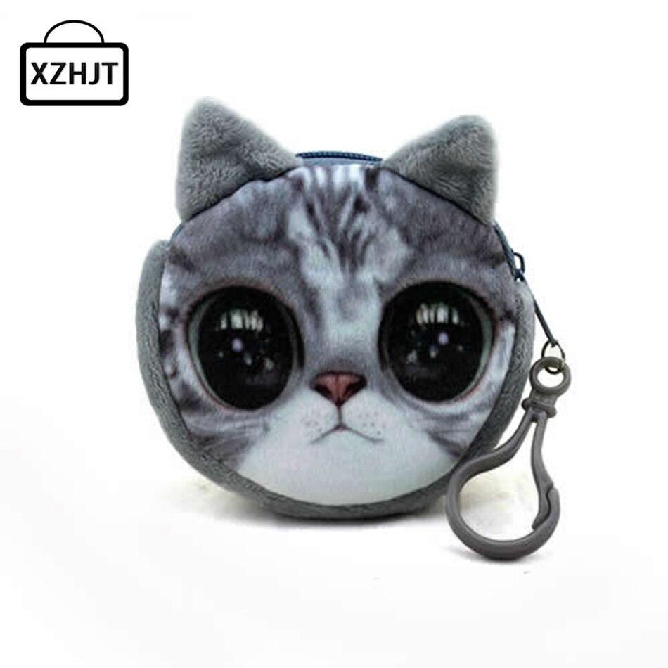 11 Stil Mini 3d Katze Plüsch Geldbörse Tiere Drucke Zipper Geldbörsen Harajuku Kinder Tasche Frauen Billeteras Nette Monedero Gato SchöNer Auftritt