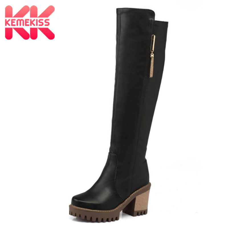 KemeKiss Women Square Heel Knee Boots Vintage Square Toe Zipper Heeled Bota Feminina Woman Warm Fur Shoes Footwear Size 34-43