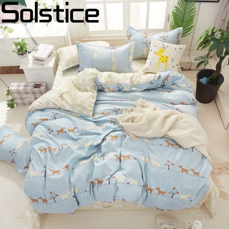 Solstice домашний текстиль с изображением мультфильма Собака Щенок пододеяльник плоский лист Pillowslip девочка ребенок комплект постельного бель